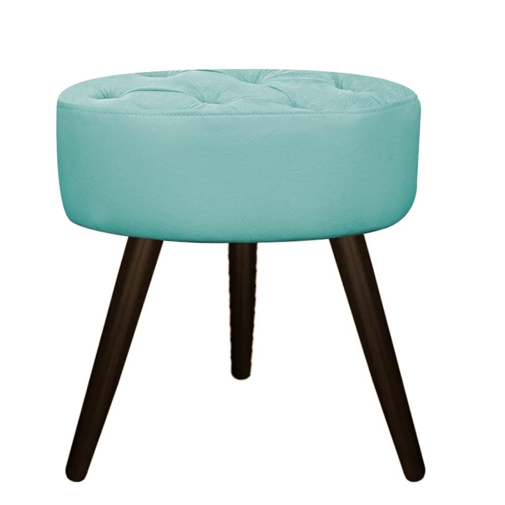 Puff Fernanda Palito Tabaco Suede Azul Tiffany - Doce Sonho Móveis