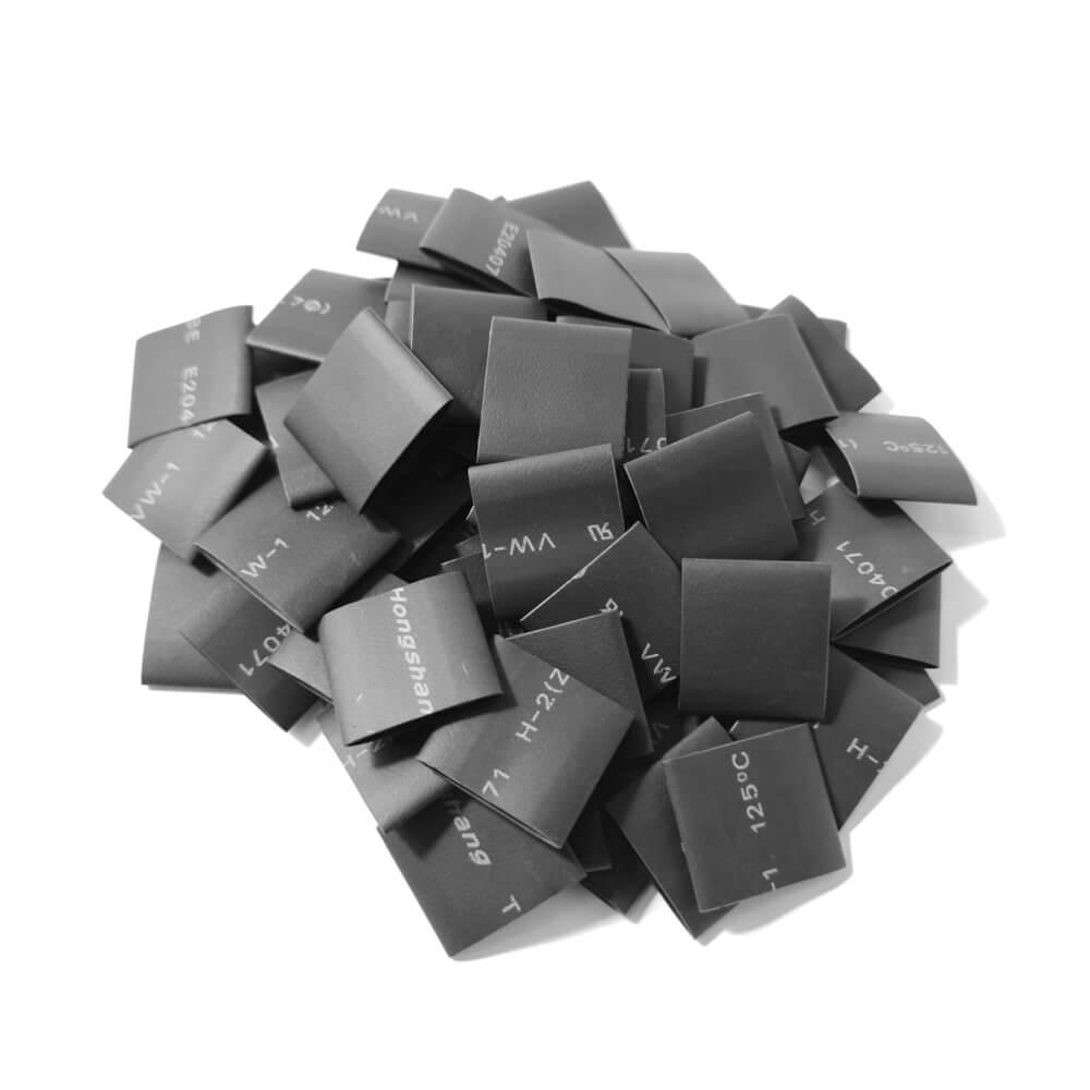 12,7 mm x 19 mm Preto Gravado Termo Retrátil (50 peças)
