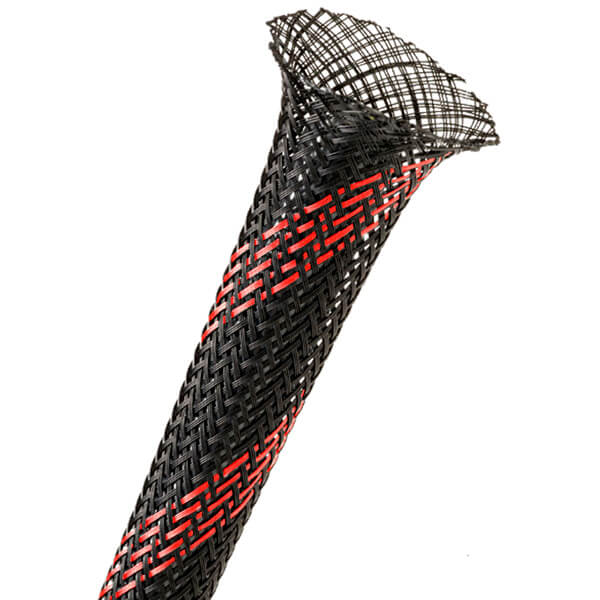 12 mm Preto/vermelho - Malha Náutica Expansiva (1m)