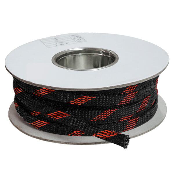 12 mm Preto/vermelho - Malha Náutica Expansiva (25m)