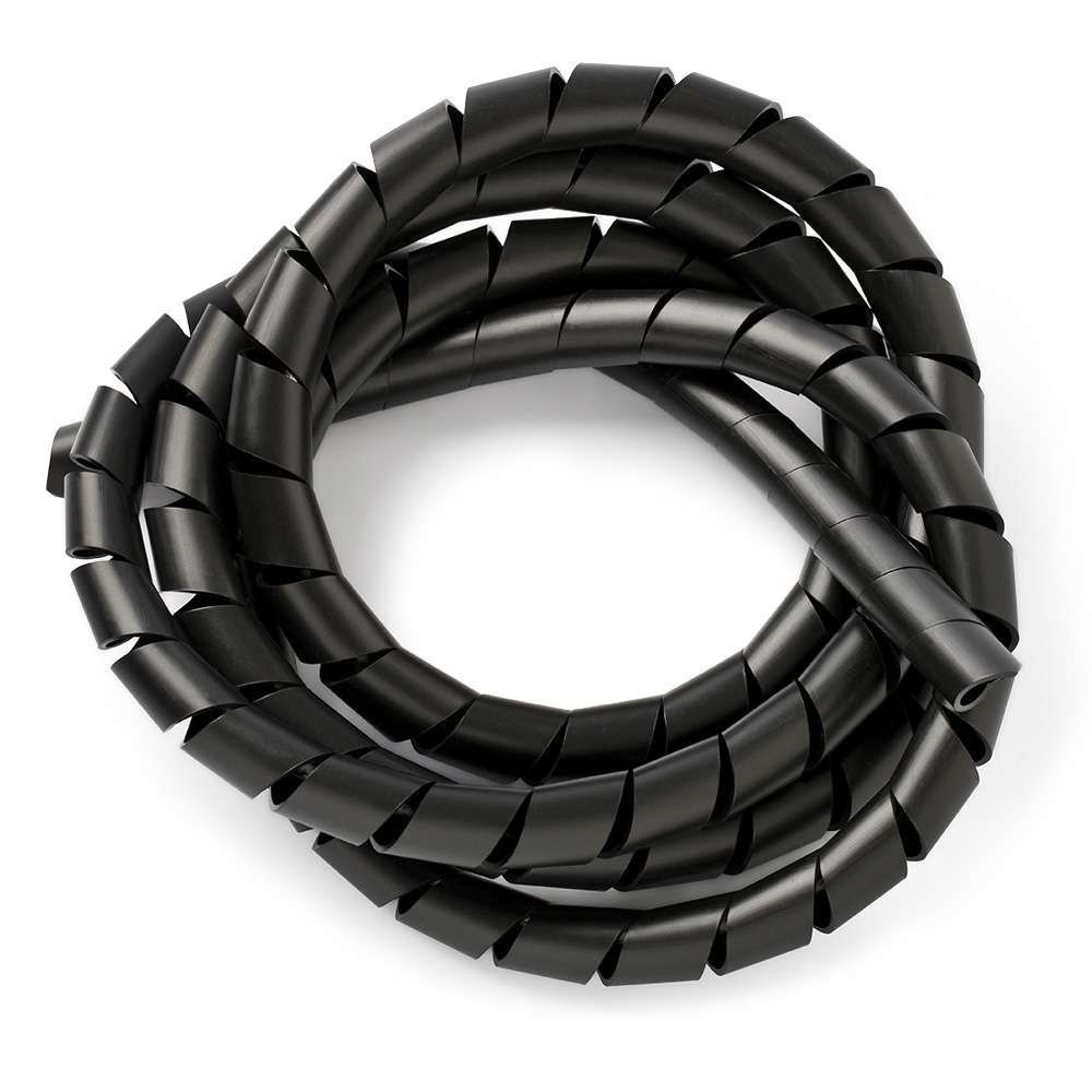 6,4 mm (1/4 pol) Preto Espiral Organizador Cabos (5m)