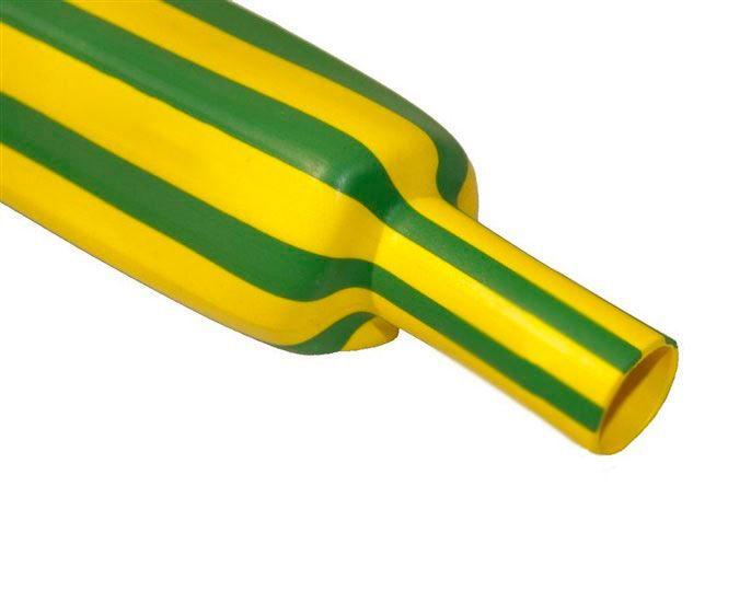 6,4 mm Verde/amarelo Termo Retrátil Padrão (1m)