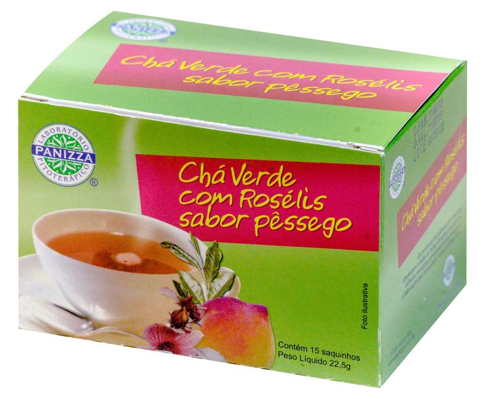 Chá Verde c/ Roselis Pêssego  15 Sachês Panizza
