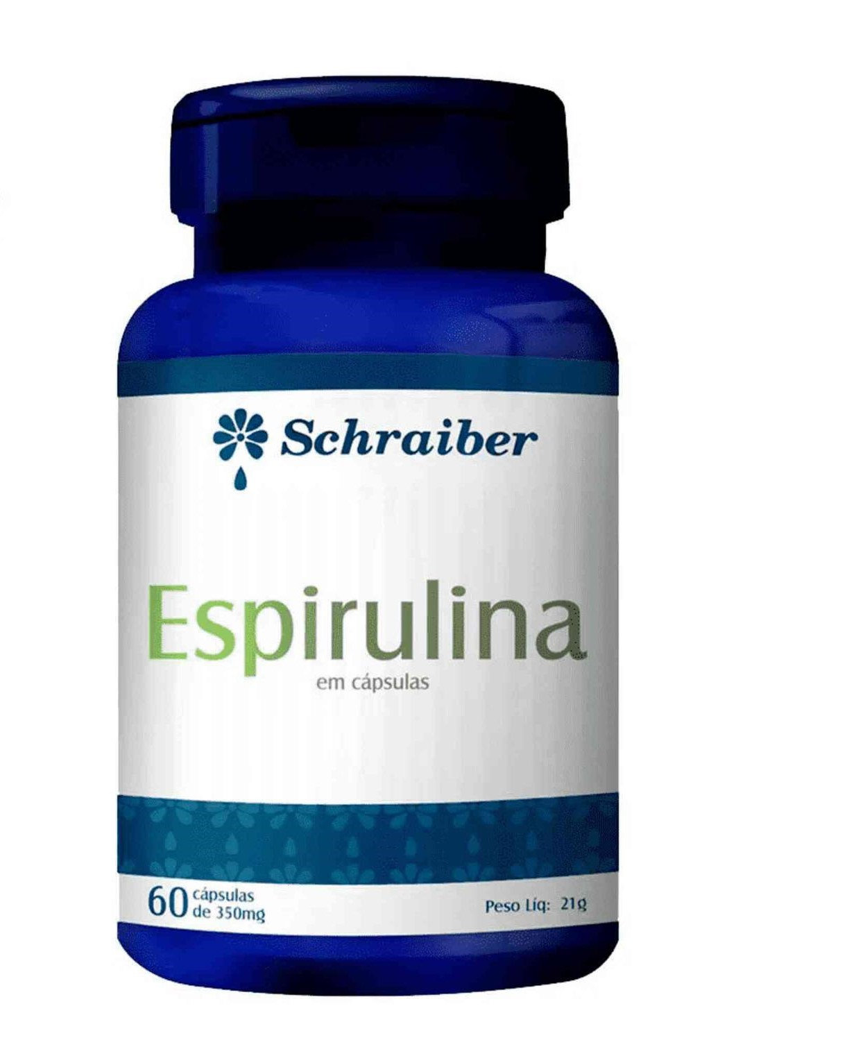 Espirulina 350mg 60 Cápsulas Schraiber