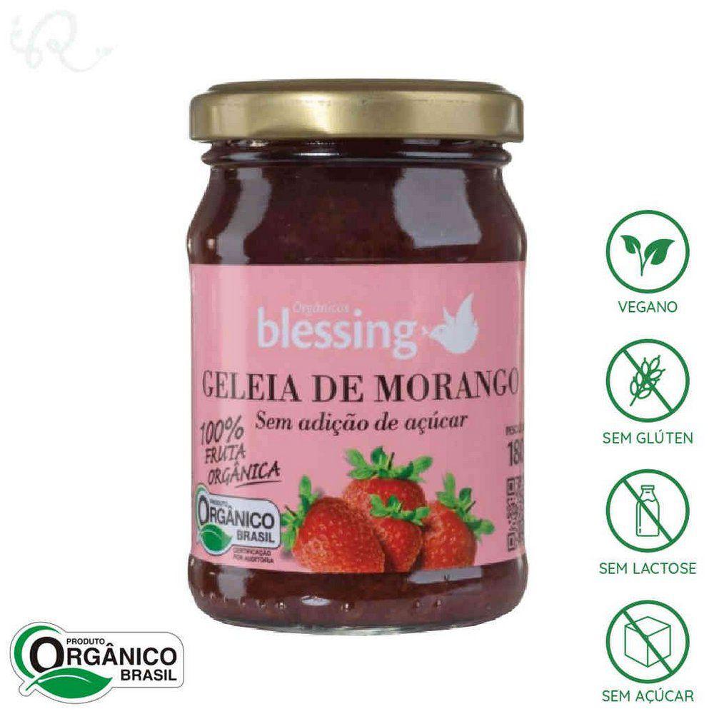 Geléia Morango S/ Açúcar Orgânico 180g Blessing