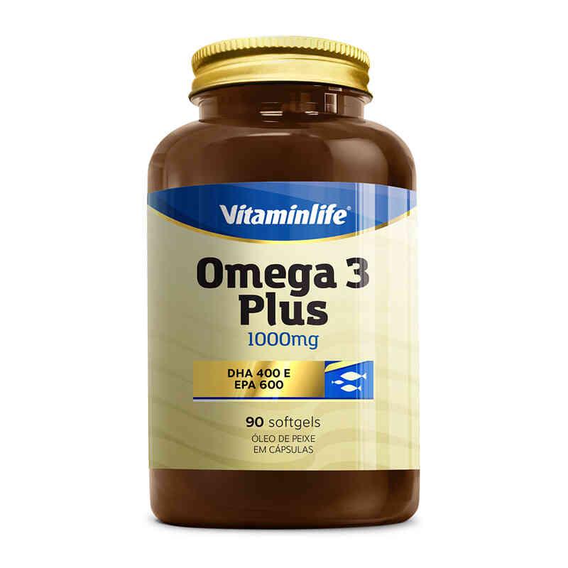 Ômega 3 Plus 1000 mg Dha400 Epa600  90 Cápsulas  Vitamin Life