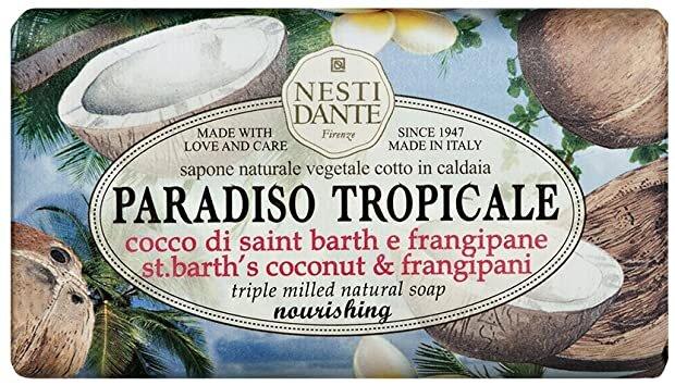 Sabonete Barra Paradiso Tropicale Côco Di Saint Barth e Frangipane 250gr Nesti Dante