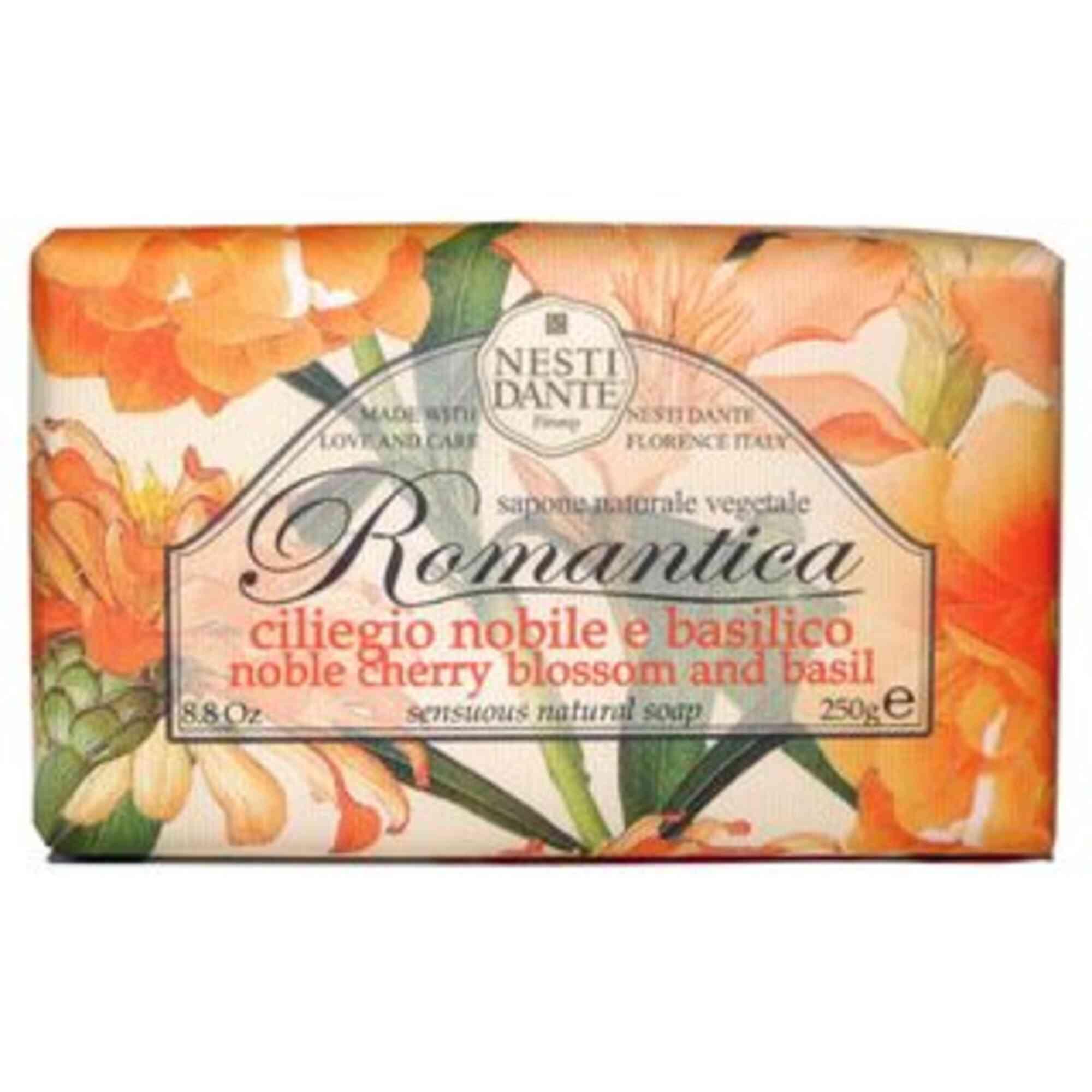 Sabonete Romantica Flores Nobres de Cereja e Manjericão 250g Nesti Dante