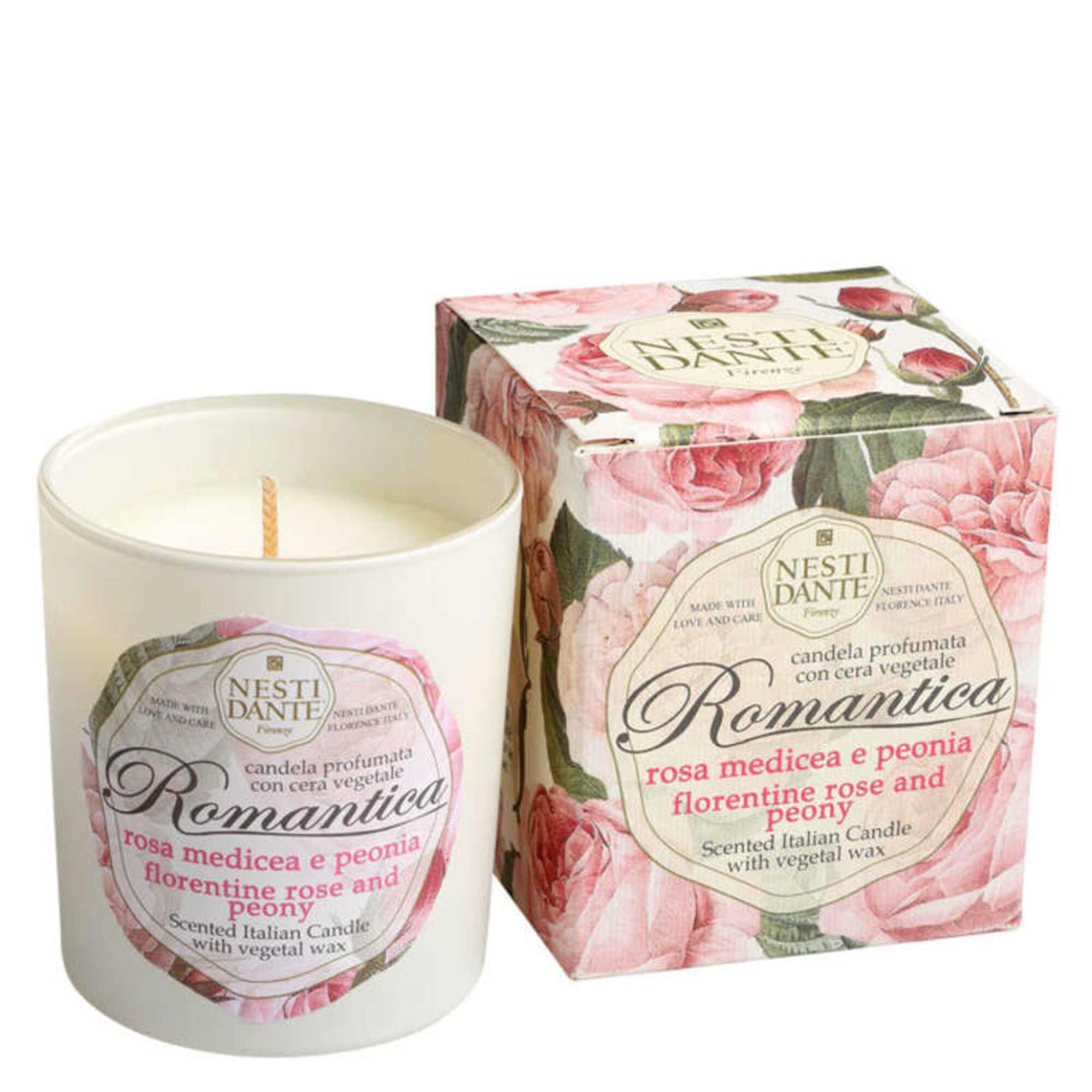 Vela Perfumada Romantica Rosas Florentinas e Peonia 160gr Nesti Dante