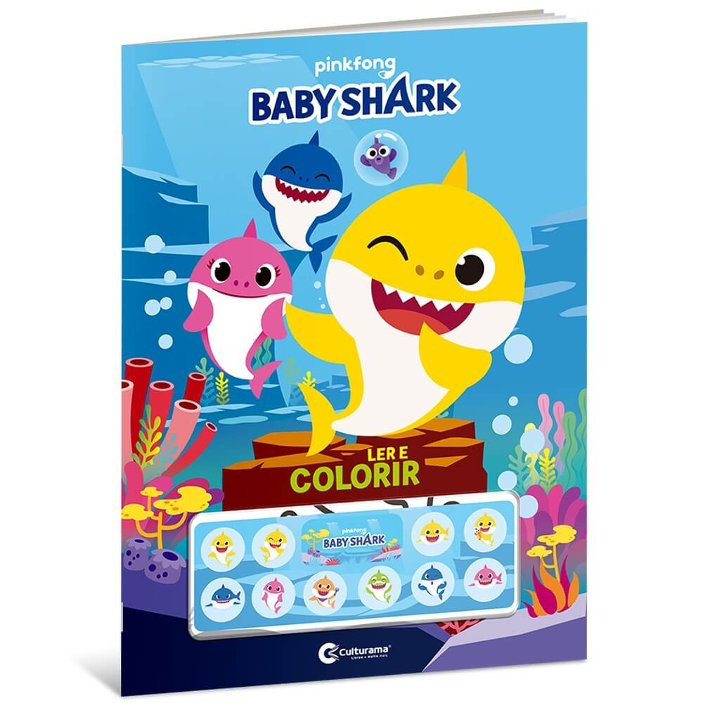 Baby Shark Ler e Colorir Com Adesivos  Culturama