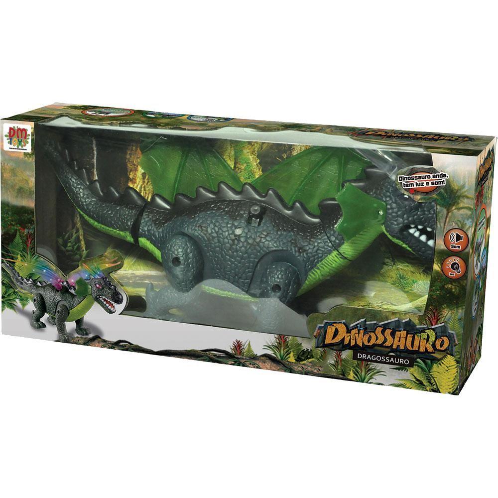 Boneco Dragossauro De Brinquedo Com Som Luz Movimento DM Toys