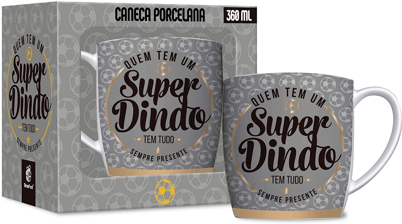 Caneca de Porcelana 360ML Quem Tem Um Super Dindo Tem Tudo - Brasfoot