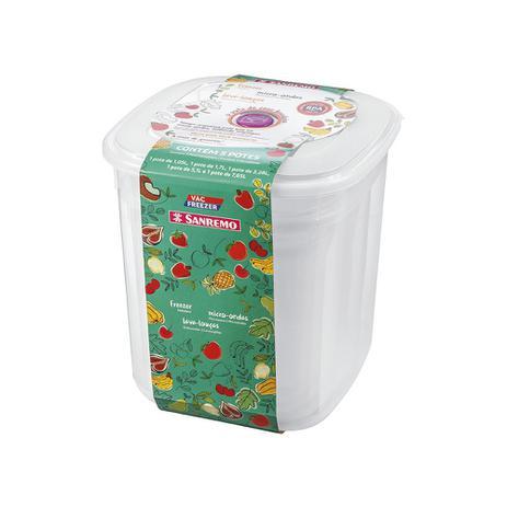 Conjunto 05 Potes Vac Freezer Quadrado Alto Sanremo