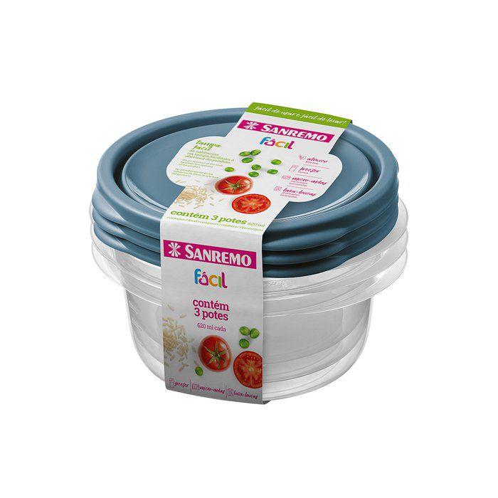 Conjunto 3 Potes Plástico 620ML Sanremo