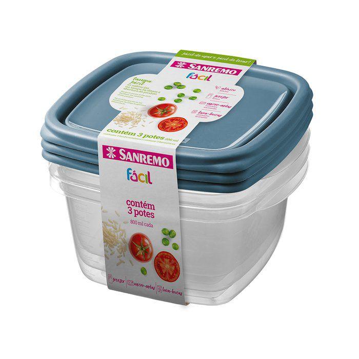 Conjunto 3 Potes Plástico 800ML Sanremo