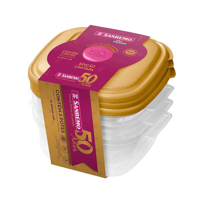 Conjunto 3 Potes Plásticos Sanremo