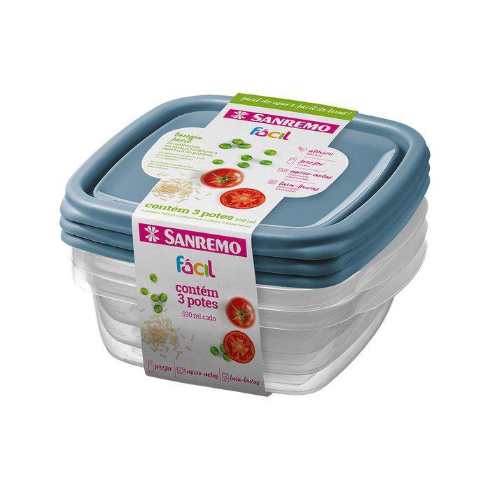 Conjunto 3 Potes Quadrados Plásticos Sanremo