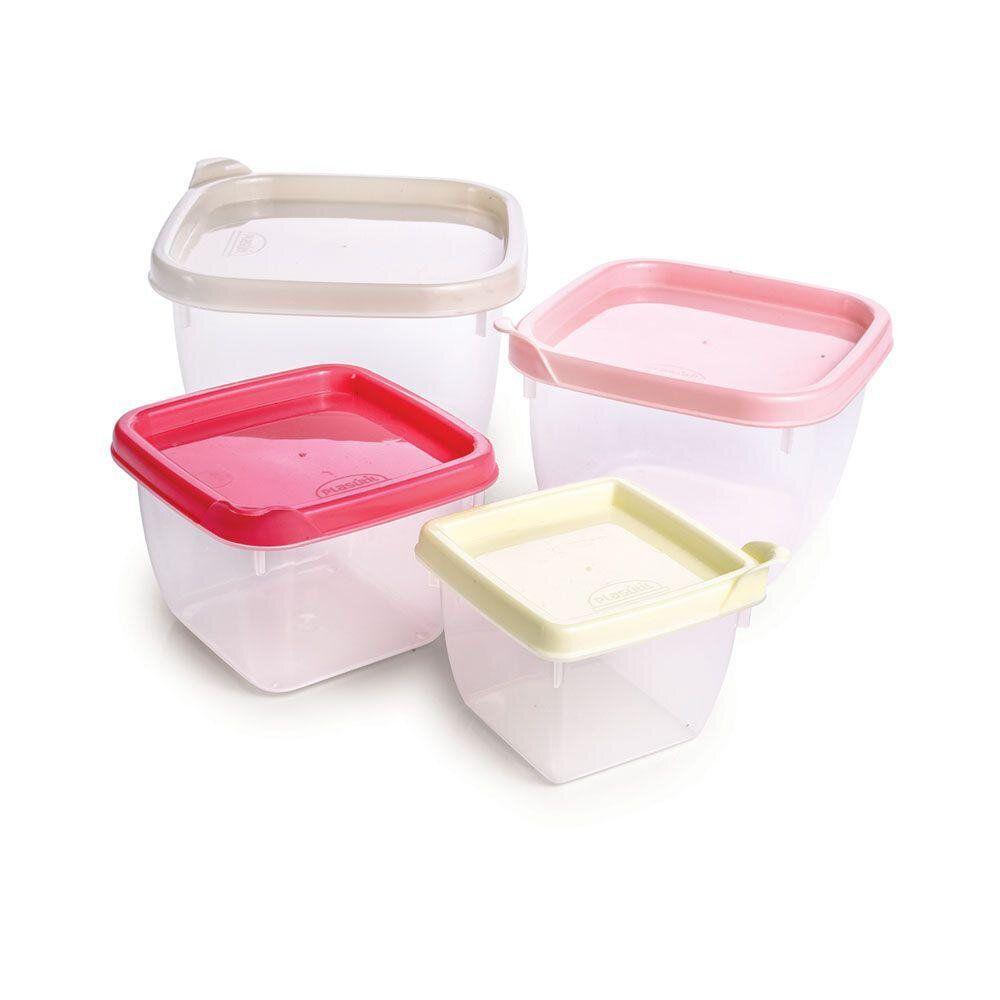 Conjunto Com 4 Potes Plásticos Quadrados Conect Plasútil