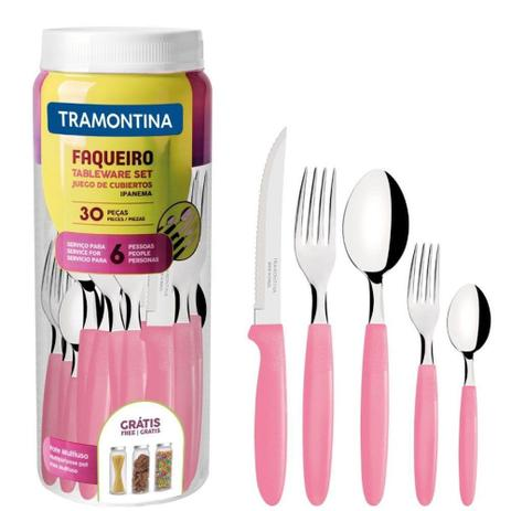 Conjunto de Faqueiro Rosa - 30 Peças Tramontina