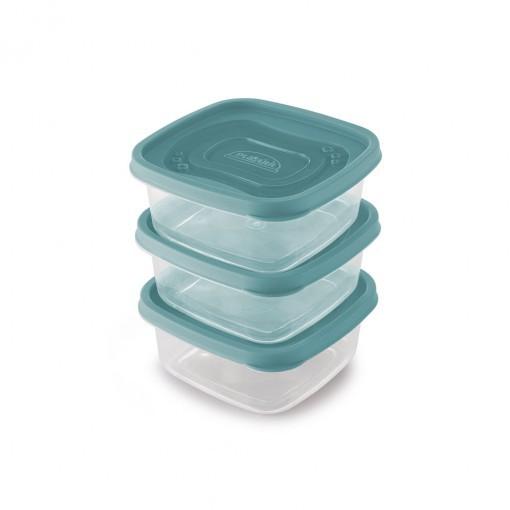 Conjunto de Potes de Plástico Quadrados 580 ml Clic 3 Unidades