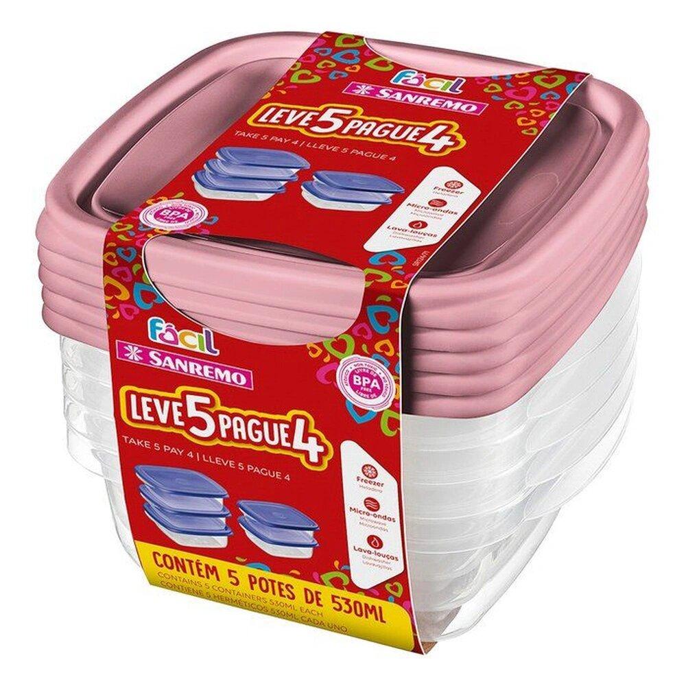 Conjunto Leve 5 Pague 4 Potes Plástico Sanremo