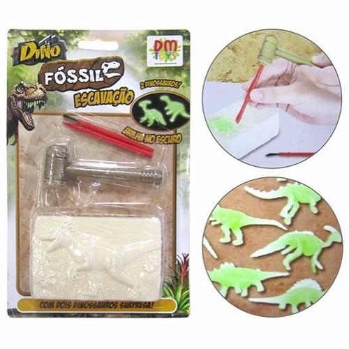 Dinossauro Fosseis Escavação com 2 Dino e Bloco De Gesso e Acessórios DM