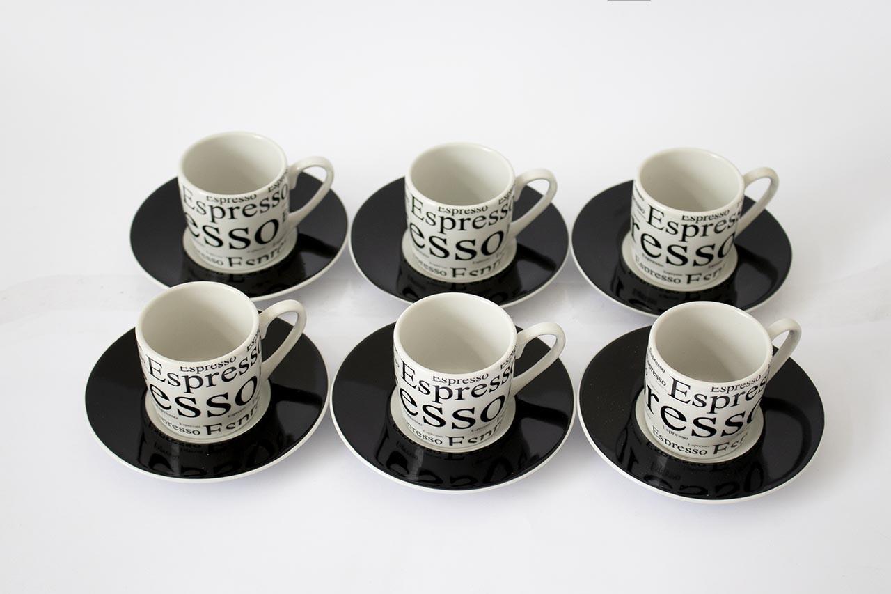 Jogo de Xícaras Espresso com 12 Peças 90ml Etilux