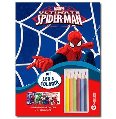 Kit Médio Marvel com 4 Livros para Colorir e 6 Lápis de Cor Culturama