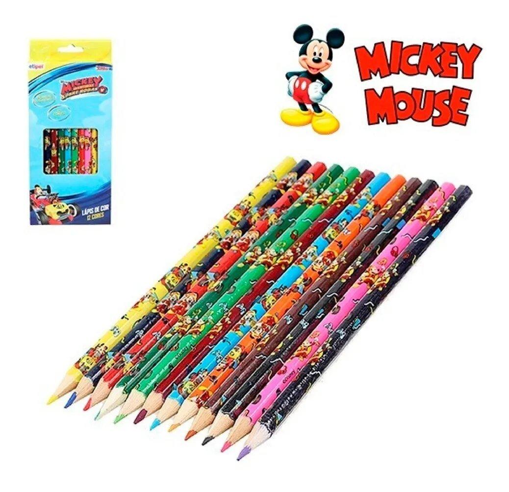 Lapis De Cor  Sextavado Com 12 cores mickey