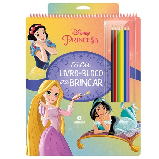Meu Livro Bloco de Brincar Princesas com Lápis de Cor Culturama