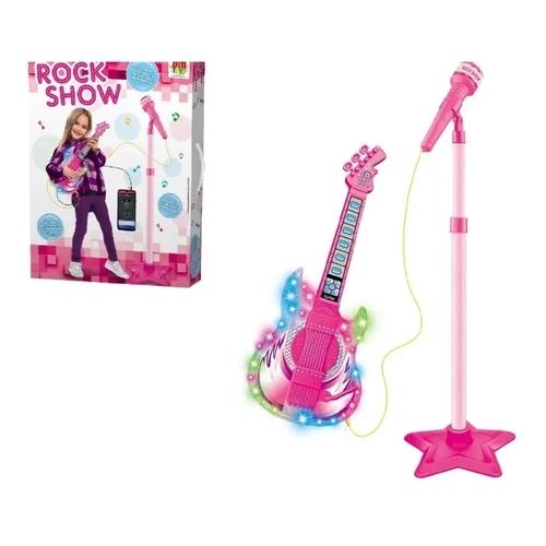 Microfone Com Pedestal E Guitarra Infantil Rock Show Dmtoys