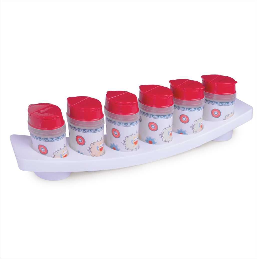 Porta Condimentos de Plástico com 6 Unidades e Base Decorado Plasútil