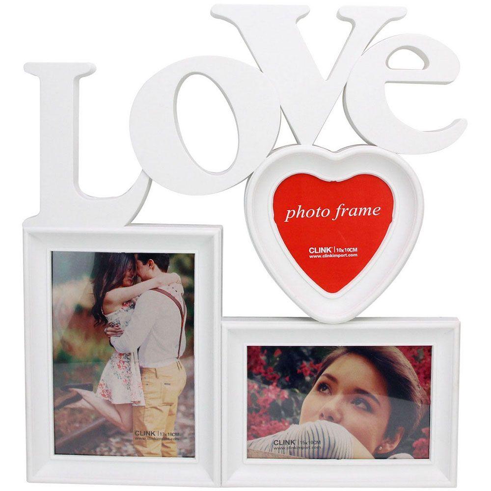Porta Retrato Love para 3 Fotos 10x15cm Clink
