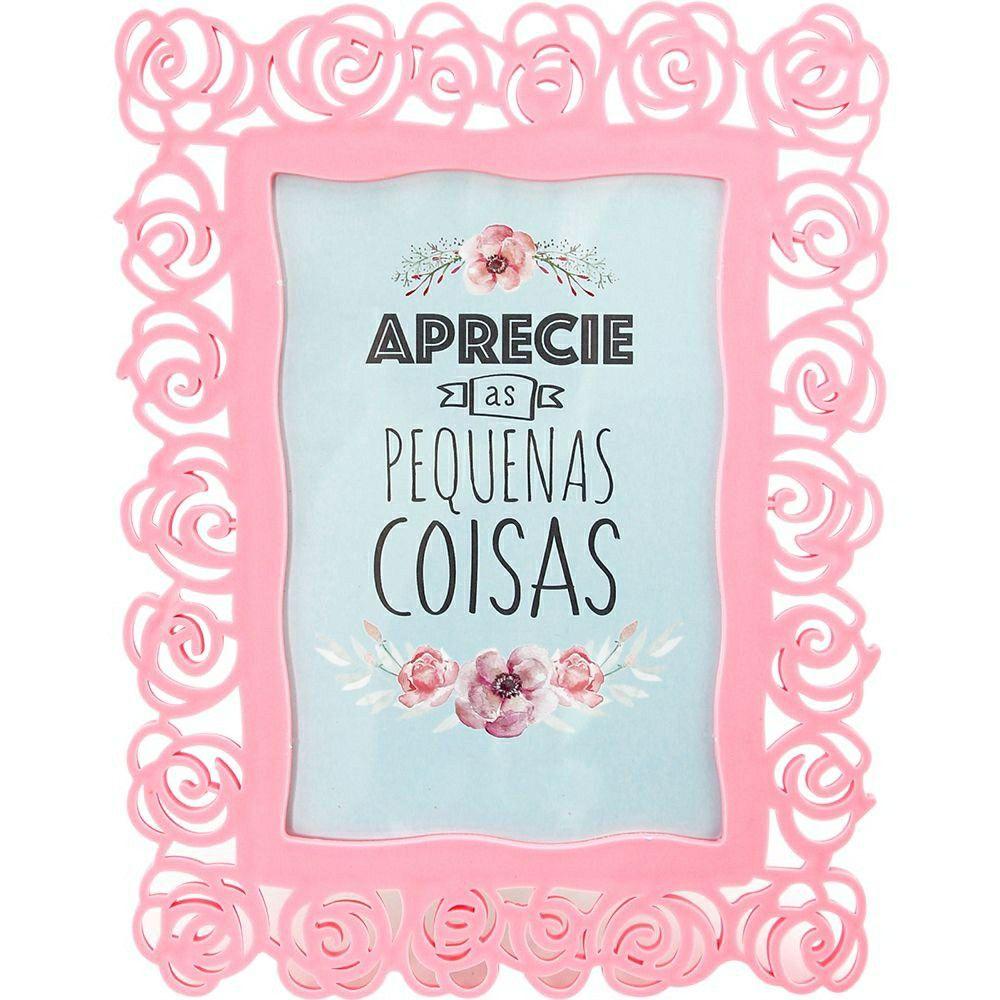 Porta Retrato Rosa Plástico 10x15 Moment