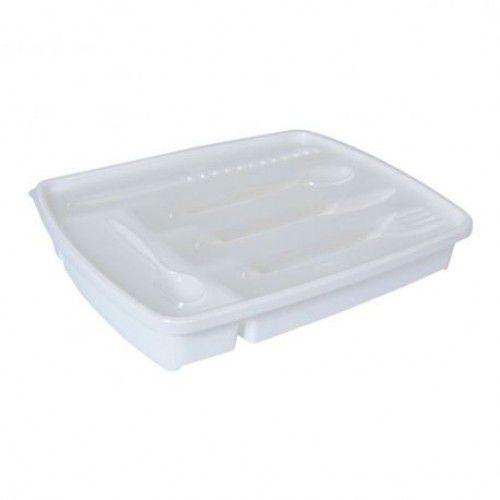 Porta Talheres de Plástico com Tampa 5 Divisórias Plasútil