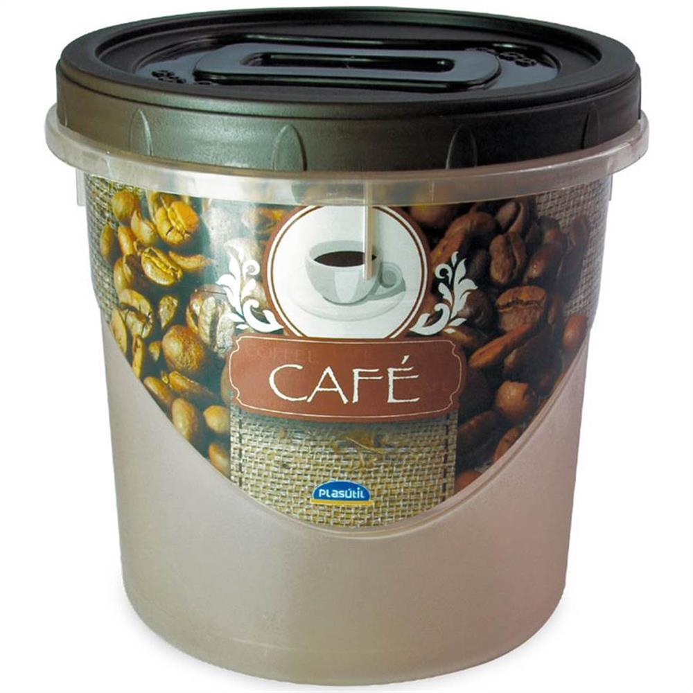 Pote de Plástico Redondo para Café 1,8 L Mantimentos Rosca Plasútil