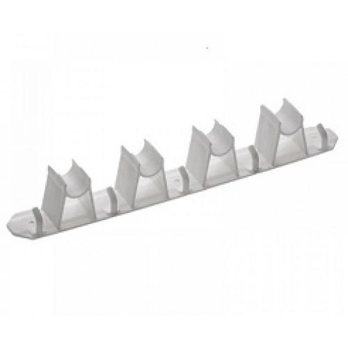 Suporte Porta Vassoura com 4 Encaixes e 5 Ganchos Plástico Paramount