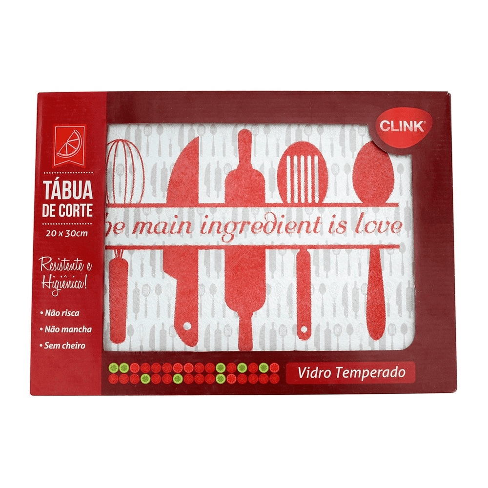 Tábua de Corte de Vidro Decorada 20x30 Clink