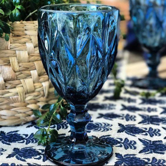 Taça de Vidro Diamond Azul 260ml - Casa Ambiente