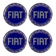 Jogo Emblema Adesivo Calota Fiat Azul Raiado Resinado 48mm