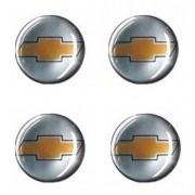 Jogo Emblema Adesivo Calota Gm Cromado Dourado Resinado 48mm