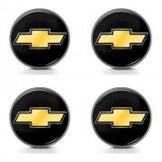 Jogo Emblema Adesivo Calota Gm Preto E Dourado Resinado 48mm