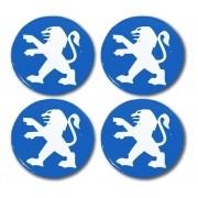 Jogo Emblema Adesivo Calota Peugeot Azul Resinado 48mm