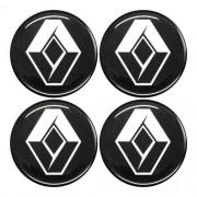 Jogo Emblema Adesivo Calota Renault Preto Resinado 48mm