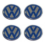 Jogo Emblema Adesivo Calota Volkswagen Azul Resinado 51mm