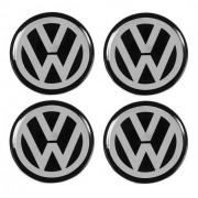 Jogo Emblema Adesivo Calota Volkswagen Preto Resinado 51mm