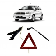 Kit Estepe Chave 17mm + Triângulo + Macaco Chevrolet Corsa