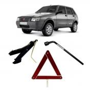 Kit Estepe Chave 19mm + Triângulo + Macaco Fiat Uno