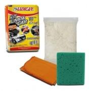 Kit Limpeza Polimento 3 Em 1 Flanela + Esponja + Estopa