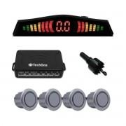 Sensor de Estacionamento Ré Prata C/ Display 4 Pontos